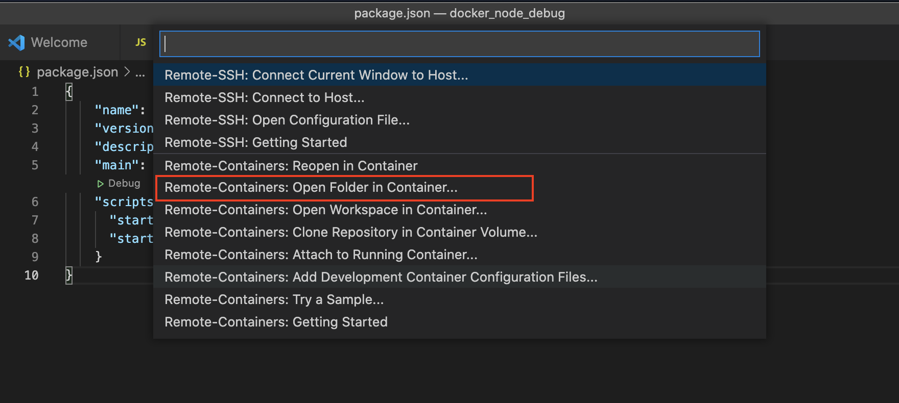 Remote-Containers: Open Folder in Container...