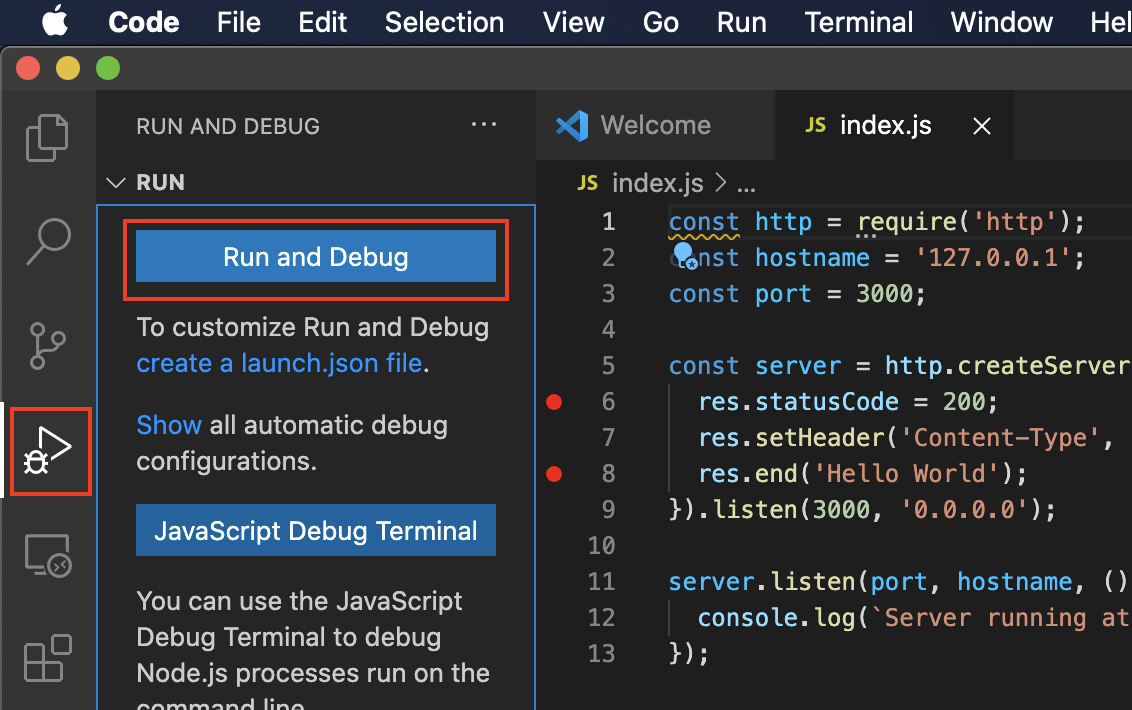 VSCode Run and Debug
