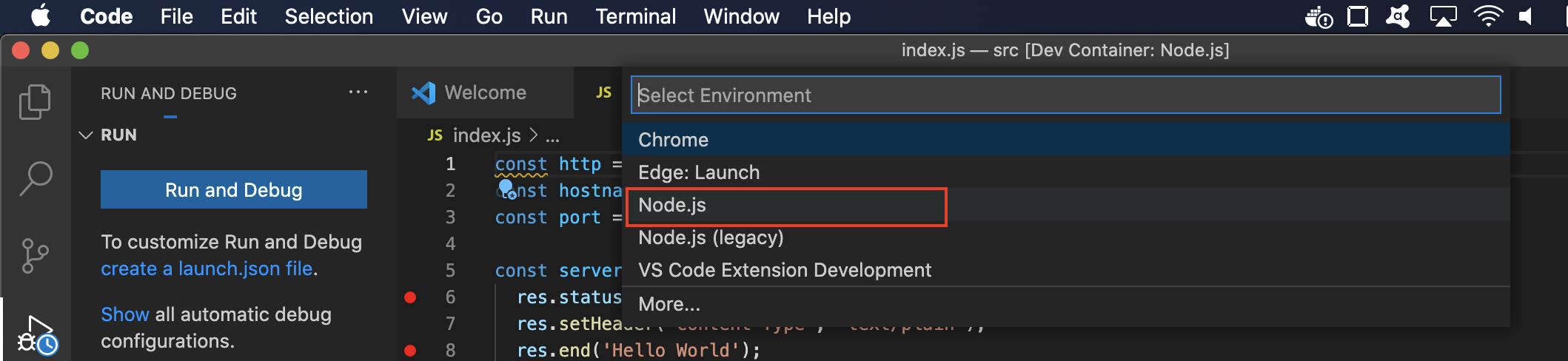 VSCode debug node.js select