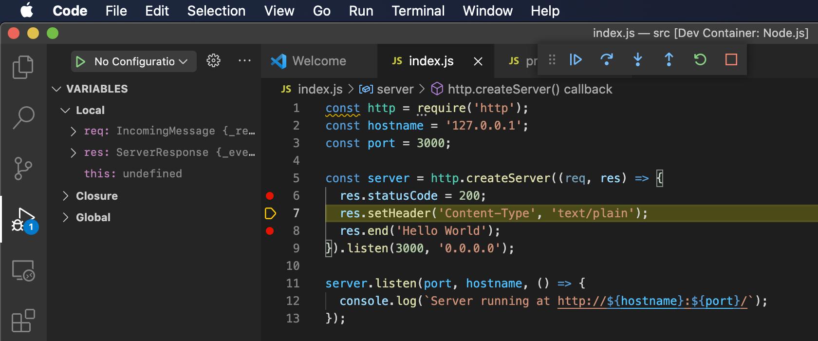 VScode remote debug step go