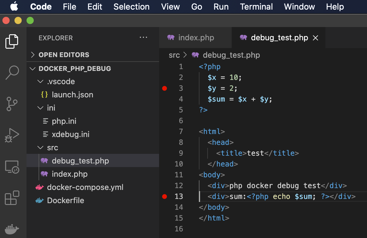 VsCode php breakpoint