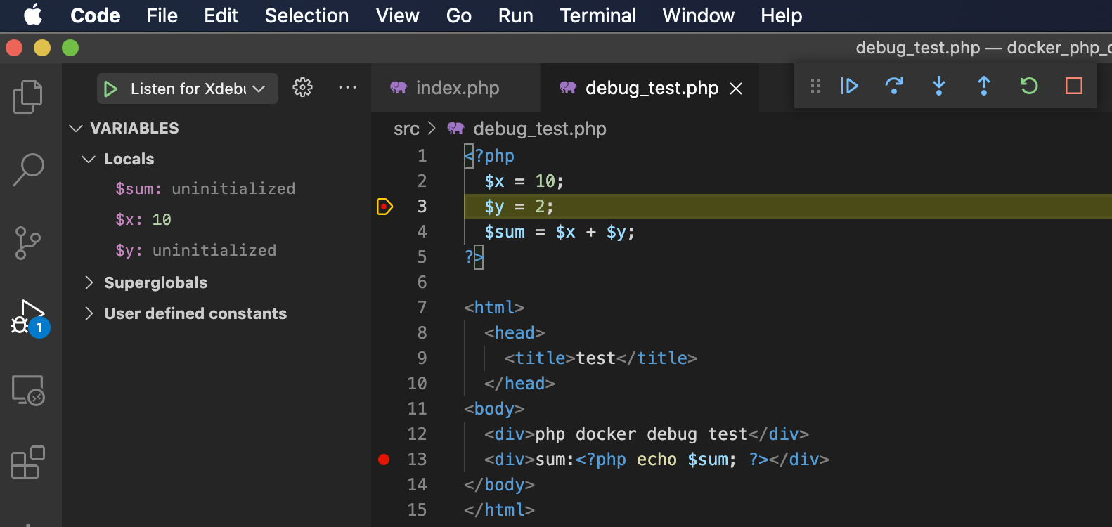 VsCode breakpoint step